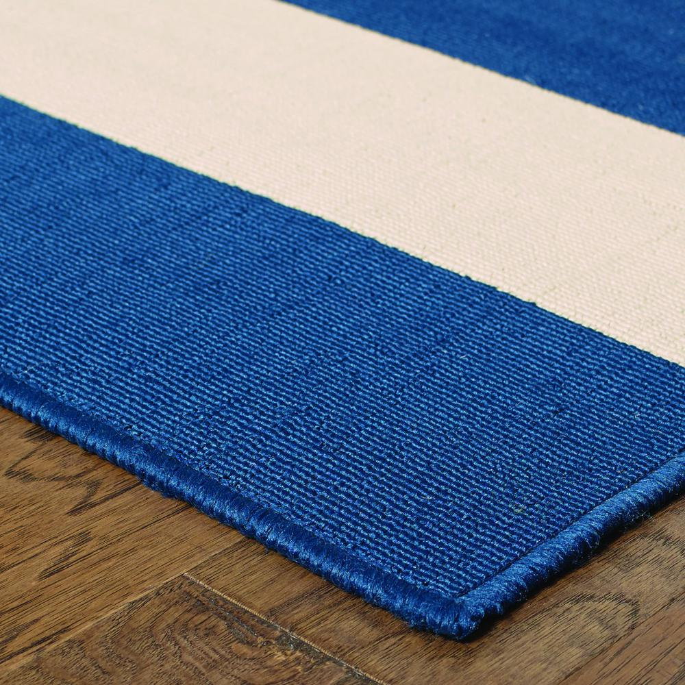8'x11' Blue and Ivory Striped Indoor Outdoor Area Rug - 388777. Picture 2