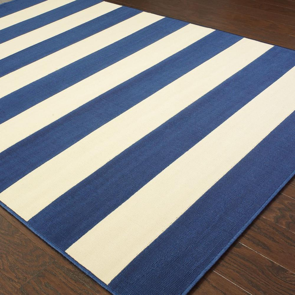8'x11' Blue and Ivory Striped Indoor Outdoor Area Rug - 388777. Picture 3