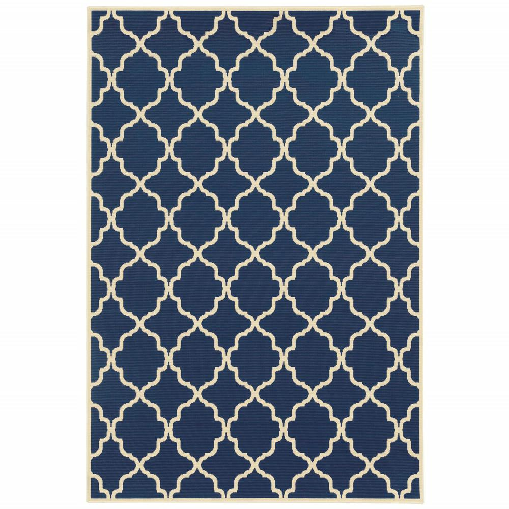 8'x11' Blue and Ivory Trellis Indoor Outdoor Area Rug - 388785. Picture 1