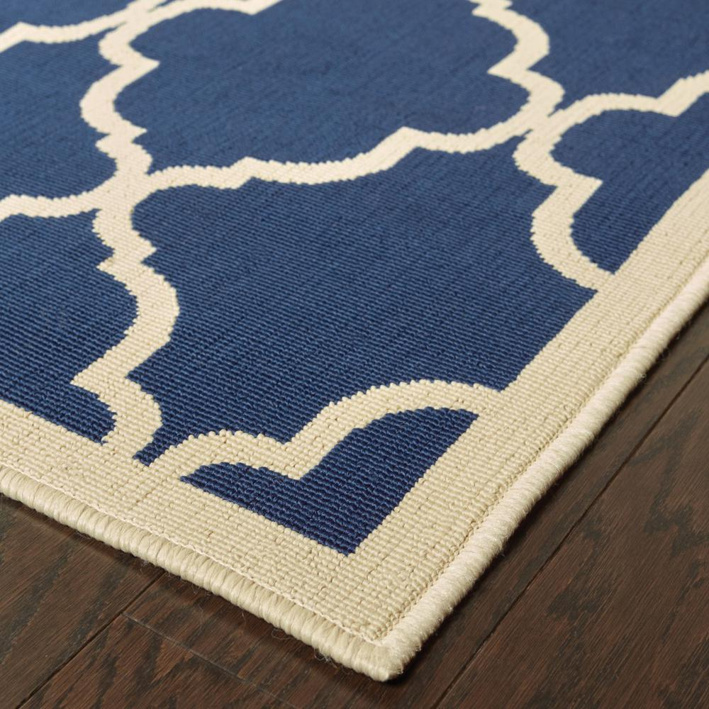 8'x11' Blue and Ivory Trellis Indoor Outdoor Area Rug - 388785. Picture 2