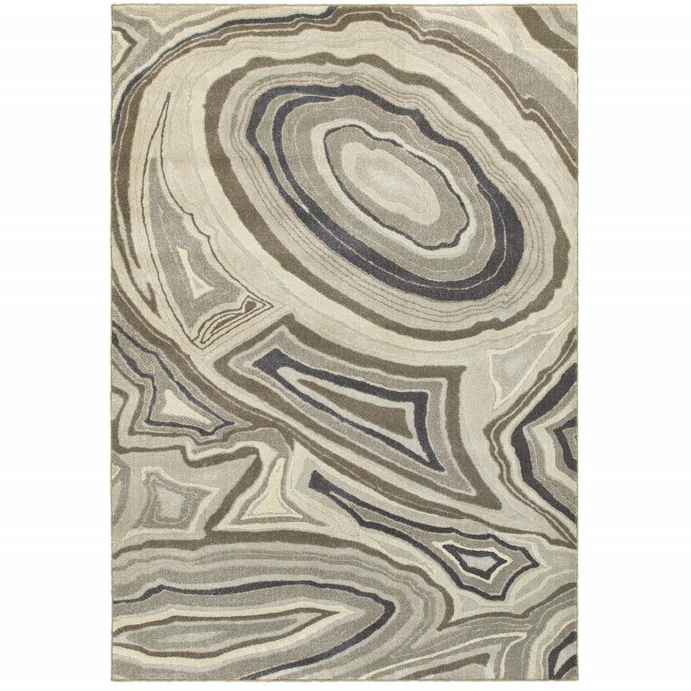 5'x8' Ivory and Gray Abstract Geometric Area Rug - 388790. Picture 1