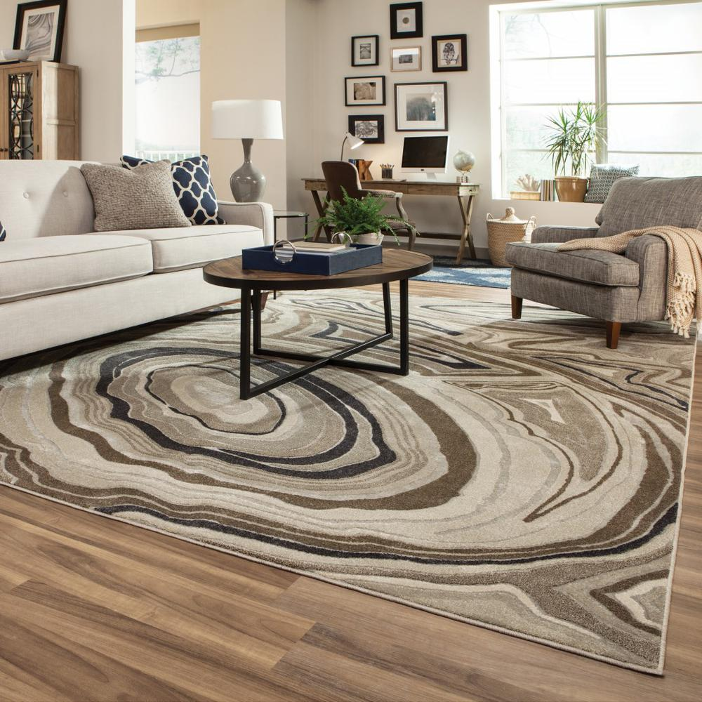 5'x8' Ivory and Gray Abstract Geometric Area Rug - 388790. Picture 3