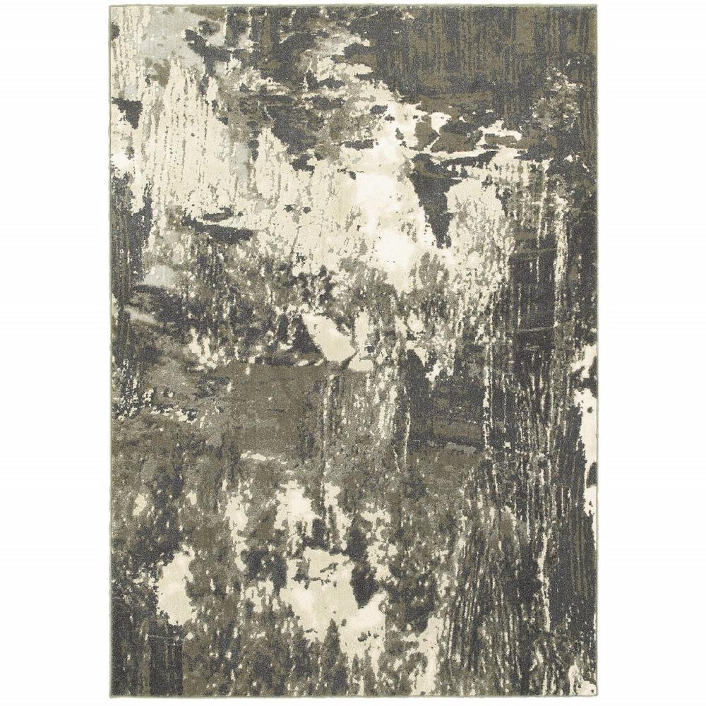 7'x10' Gray and Ivory Abstract Area Rug - 388797. Picture 1