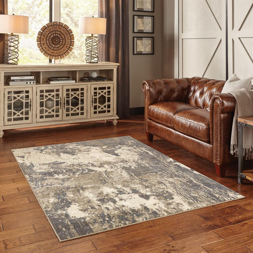 7'x10' Gray and Ivory Abstract Area Rug - 388797. Picture 3