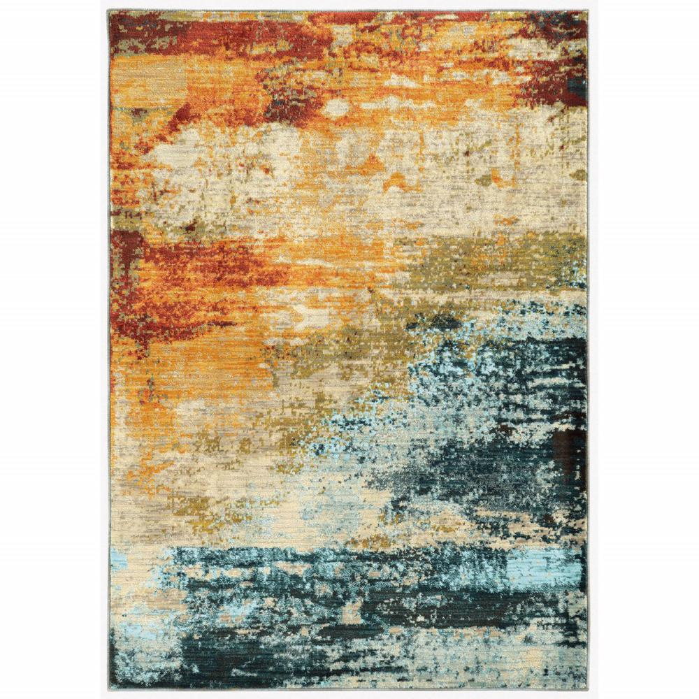 4'x6' Blue and Red Distressed Area Rug - 388808. Picture 1