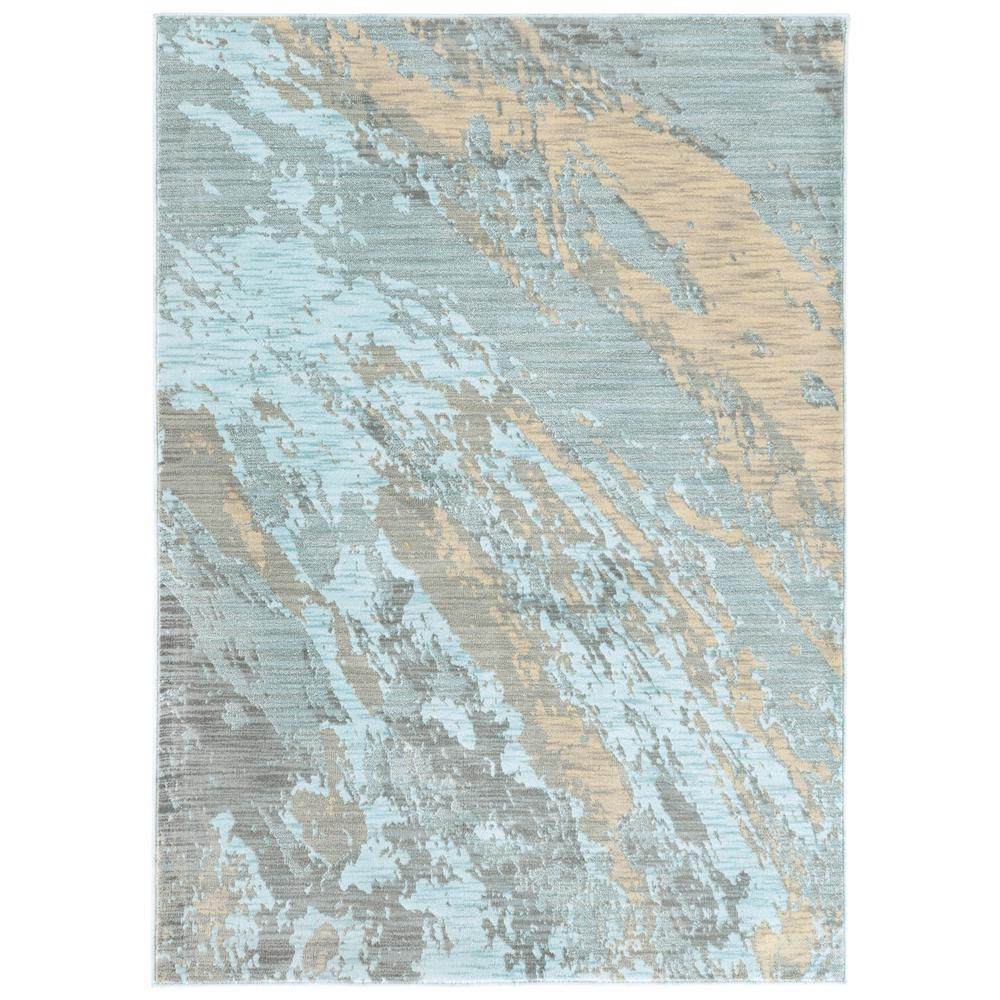 8'x11' Blue and Gray Abstract Impasto Area Rug - 388819. Picture 1