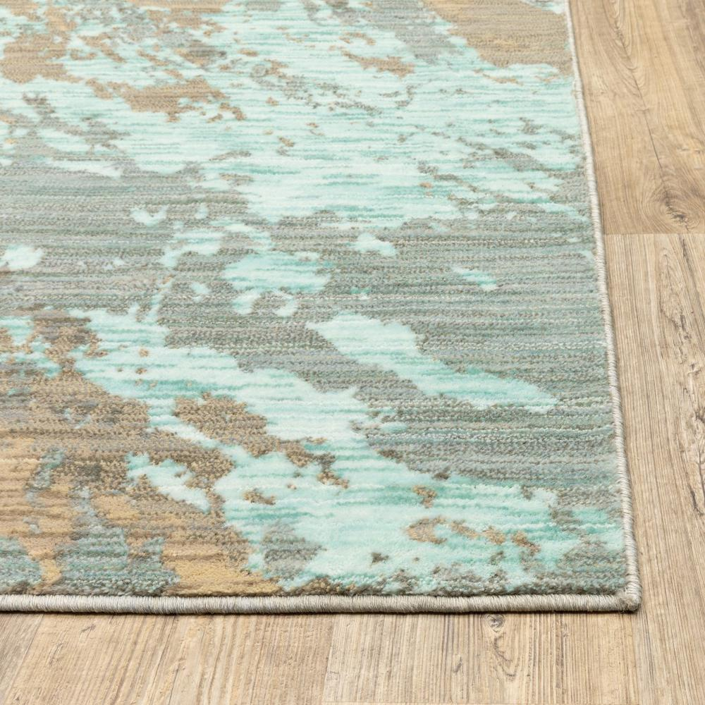 8'x11' Blue and Gray Abstract Impasto Area Rug - 388819. Picture 2