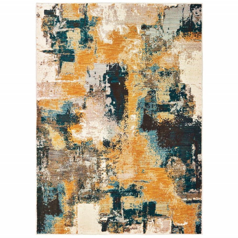 8'x11' Blue and Gold Abstract Strokes Area Rug - 388827. Picture 1