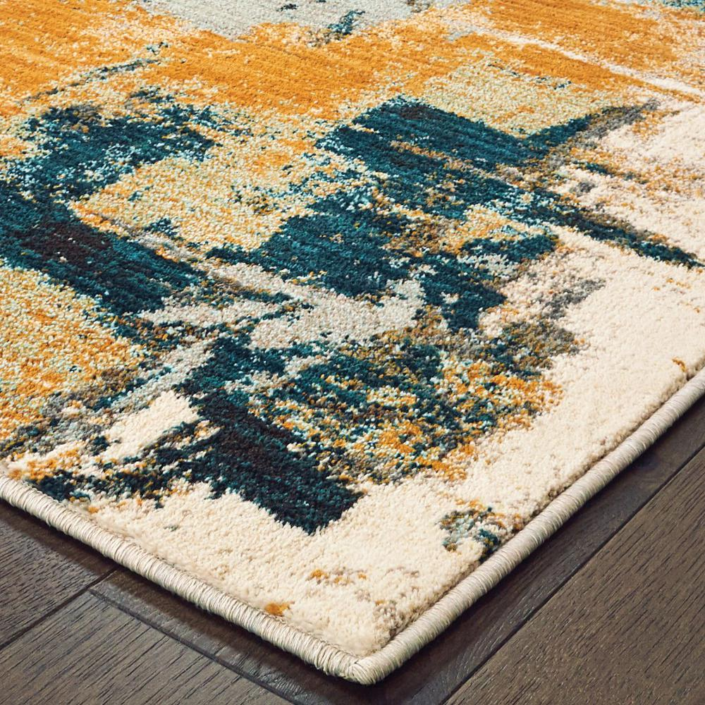 8'x11' Blue and Gold Abstract Strokes Area Rug - 388827. Picture 2