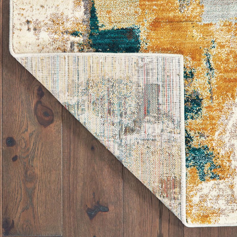 8'x11' Blue and Gold Abstract Strokes Area Rug - 388827. Picture 3