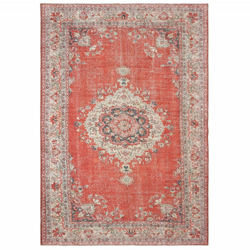 8'x10' Red and Gray Oriental Area Rug - 388832. Picture 1