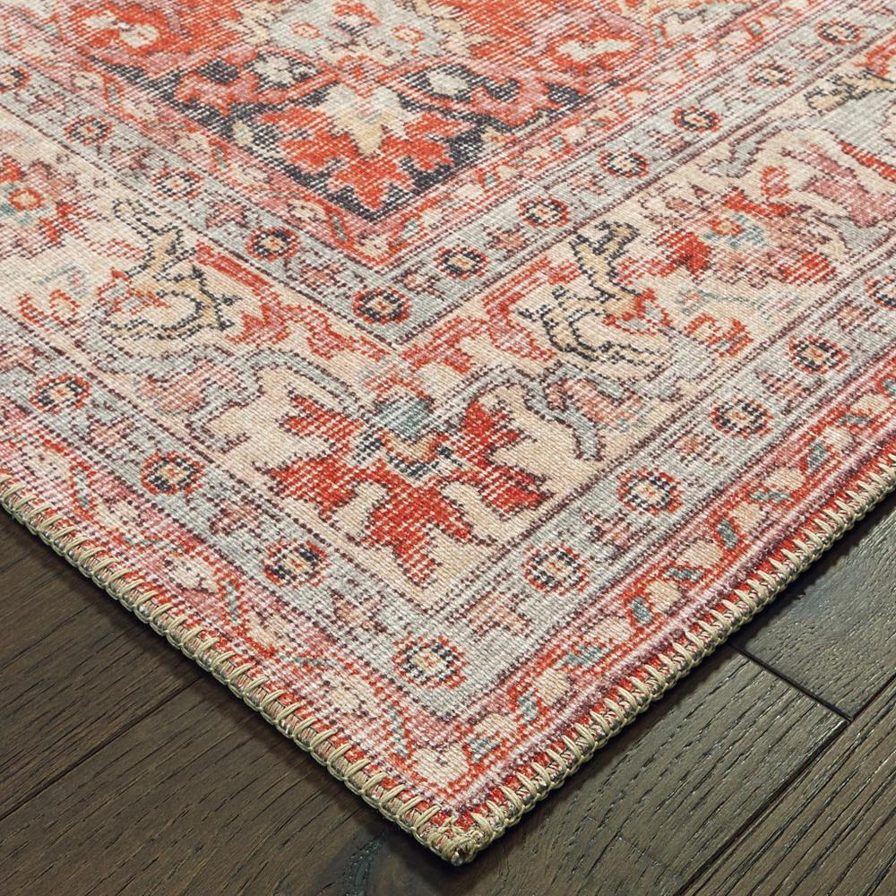8'x10' Red and Gray Oriental Area Rug - 388832. Picture 3
