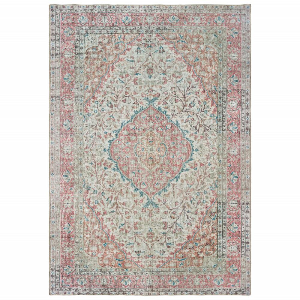8'x10' Ivory and Pink Oriental Area Rug - 388837. Picture 1
