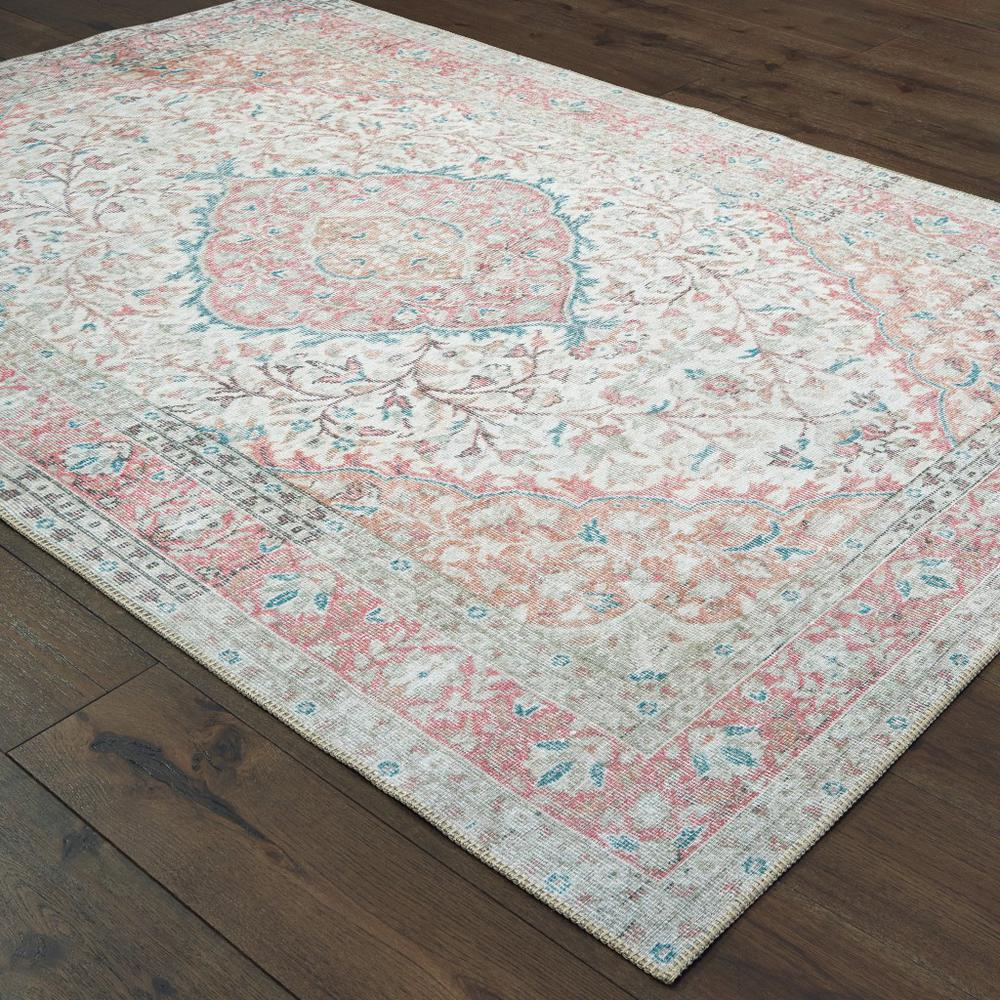 8'x10' Ivory and Pink Oriental Area Rug - 388837. Picture 3