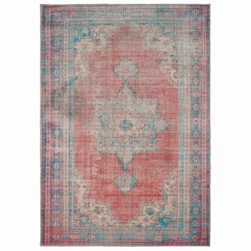 4'x6' Red and Blue Oriental Area Rug - 388840. Picture 1