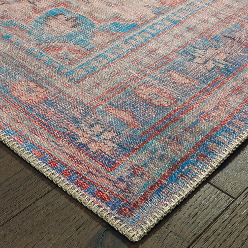 4'x6' Red and Blue Oriental Area Rug - 388840. Picture 2