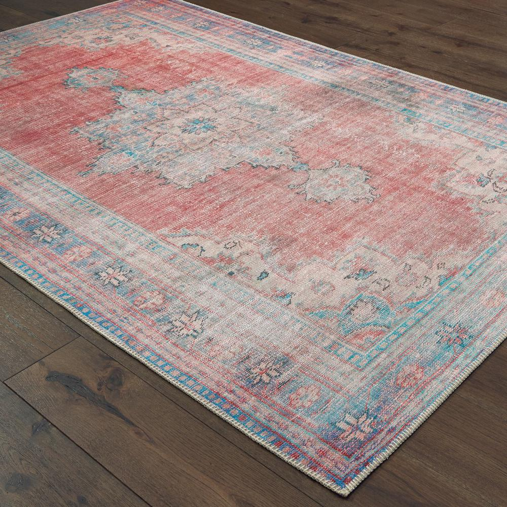 4'x6' Red and Blue Oriental Area Rug - 388840. Picture 3