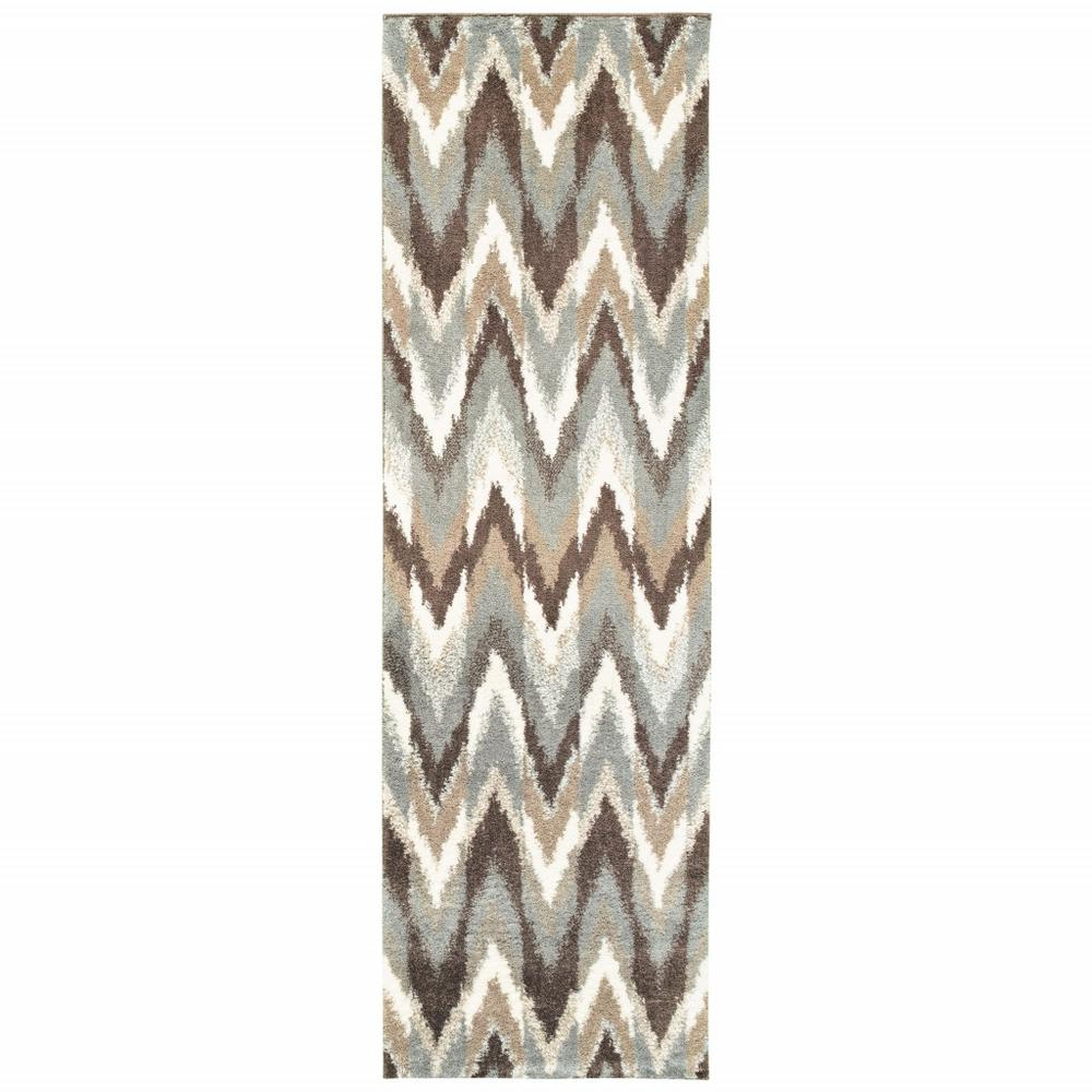 2'x8' Gray and Taupe Ikat Pattern Runner Rug - 388844. Picture 1