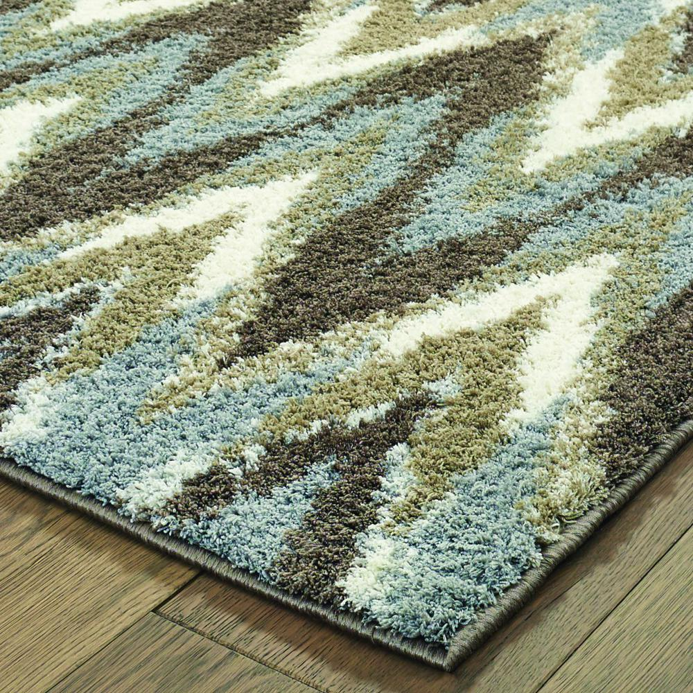 2'x8' Gray and Taupe Ikat Pattern Runner Rug - 388844. Picture 2