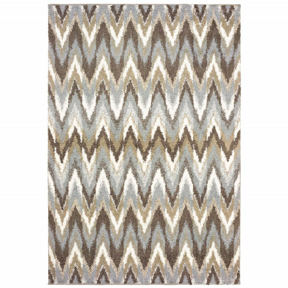 5'x8' Gray and Taupe Ikat Pattern Area Rug - 388846. Picture 1