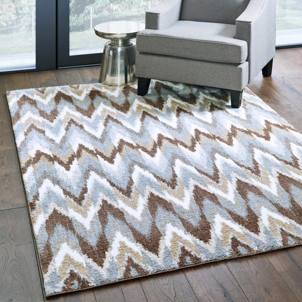 5'x8' Gray and Taupe Ikat Pattern Area Rug - 388846. Picture 3