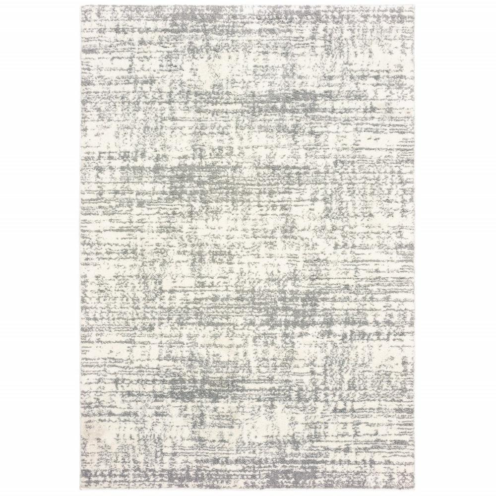 8'x11' Ivory and Gray Abstract Strokes Area Rug - 388854. Picture 1