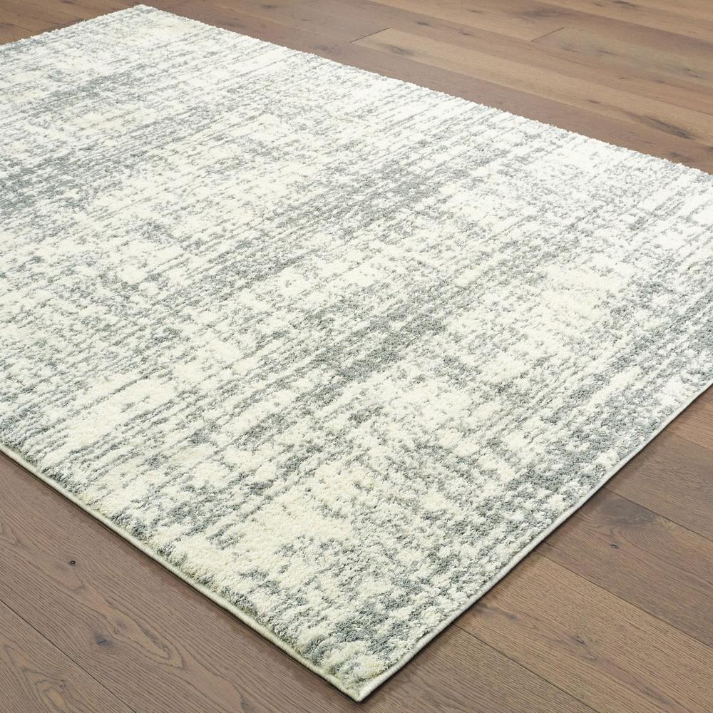 8'x11' Ivory and Gray Abstract Strokes Area Rug - 388854. Picture 3