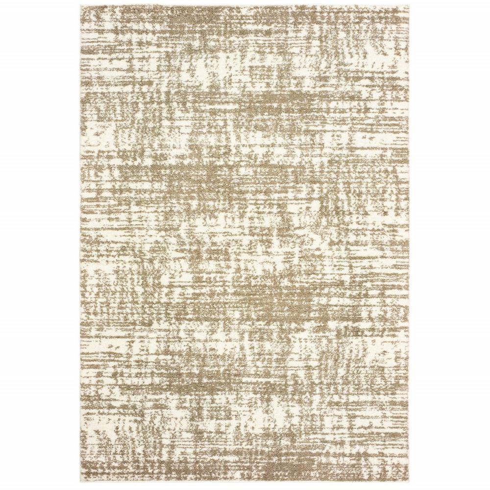 4'x6' Ivory and Gray Abstract Strokes Area Rug - 388857. Picture 1