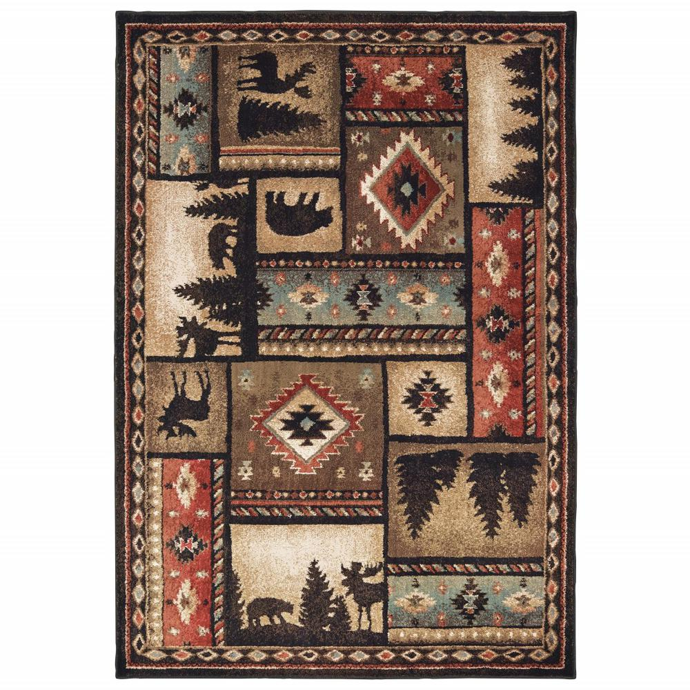 8'x10' Black and Brown Nature Lodge Area Rug - 388866. Picture 1