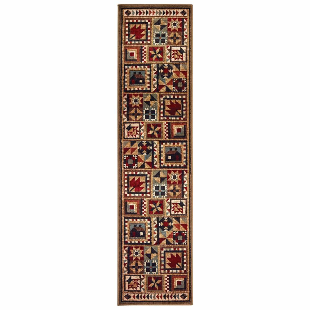 2'x8' Brown and Red Ikat Patchwork Runner Rug - 388868. Picture 1
