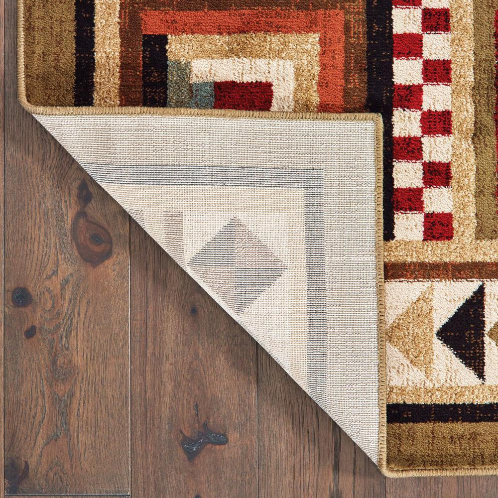 2'x8' Brown and Red Ikat Patchwork Runner Rug - 388868. Picture 3