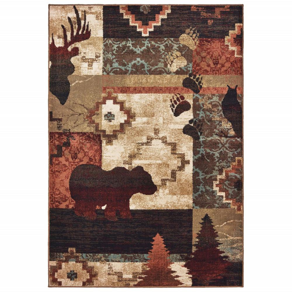 5'x7' Rustic Brown Animal Lodge Area Rug - 388876. Picture 1