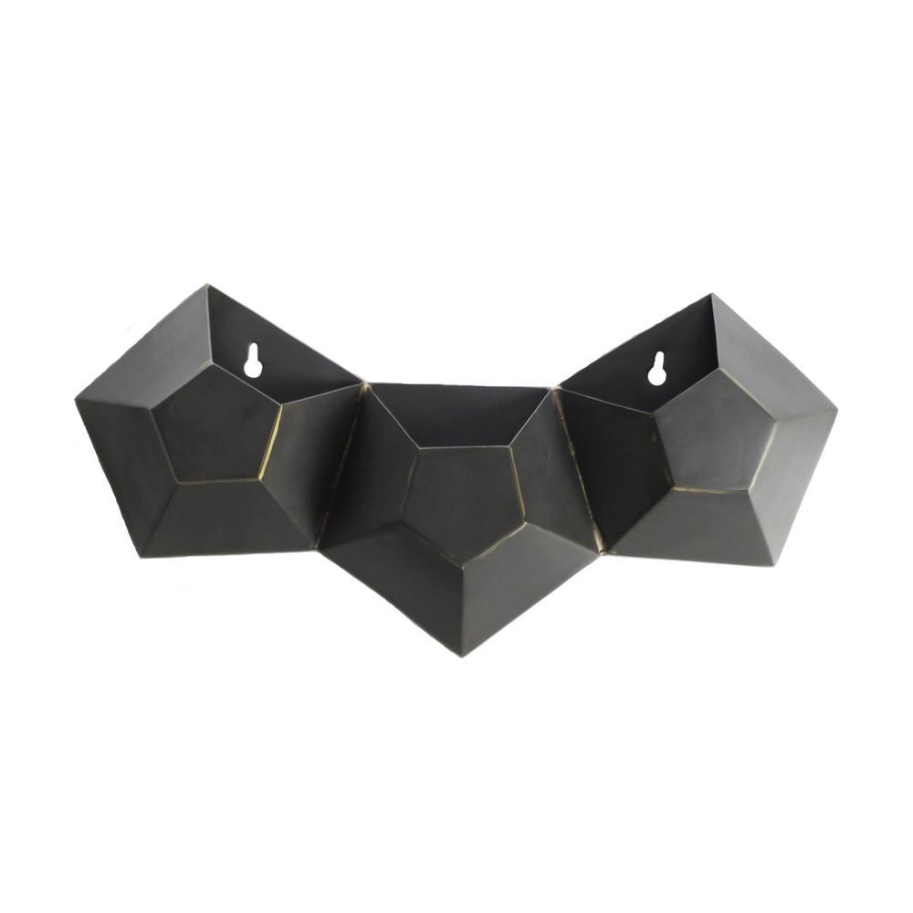 Triple Pentagonal Iron Wall Vase - 388881. Picture 1
