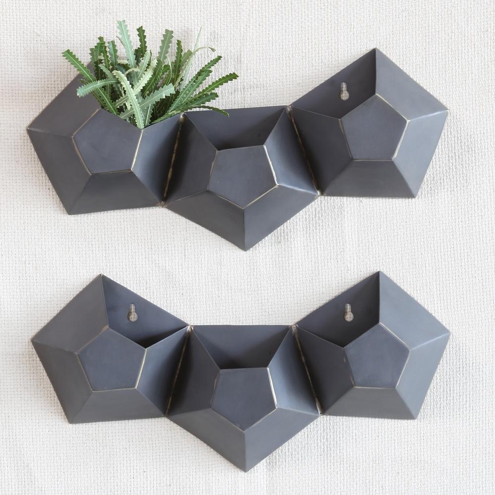 Triple Pentagonal Iron Wall Vase - 388881. Picture 2