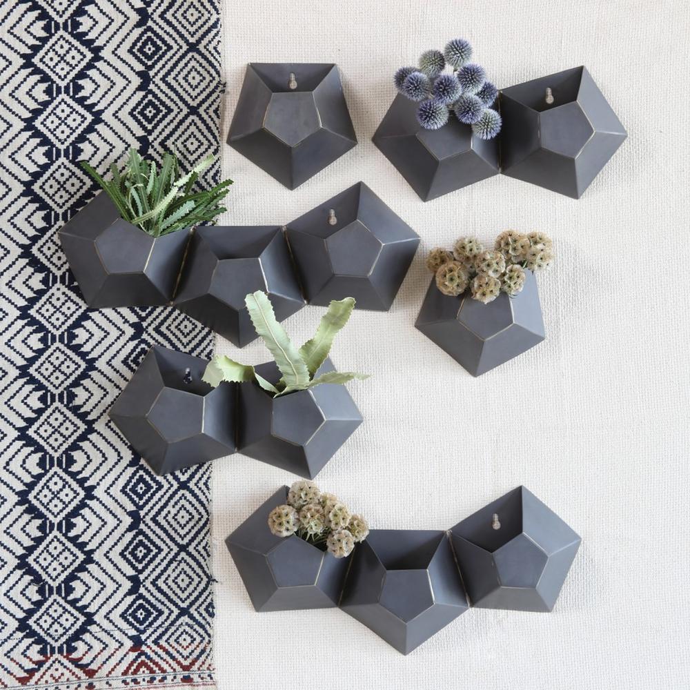 Triple Pentagonal Iron Wall Vase - 388881. Picture 3