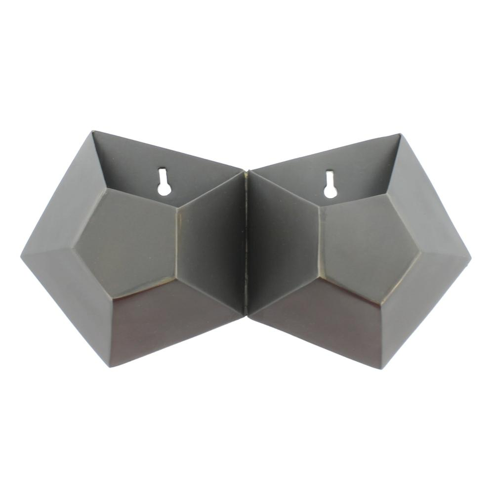 Double Pentagonal Iron Wall Vase - 388882. Picture 1