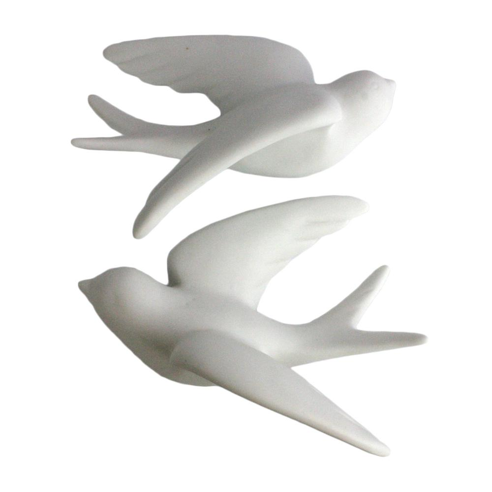 Set of 2 White Ceramic Sparrows Wall Décor - 388883. Picture 1