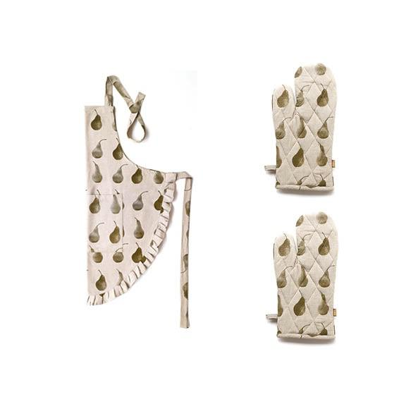 Set of Olive Green Pear Patterned Apron with Oven Gloves - 388915. Picture 1