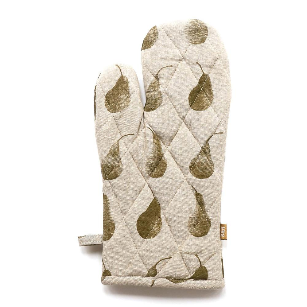 Set of Olive Green Pear Patterned Apron with Oven Gloves - 388915. Picture 2