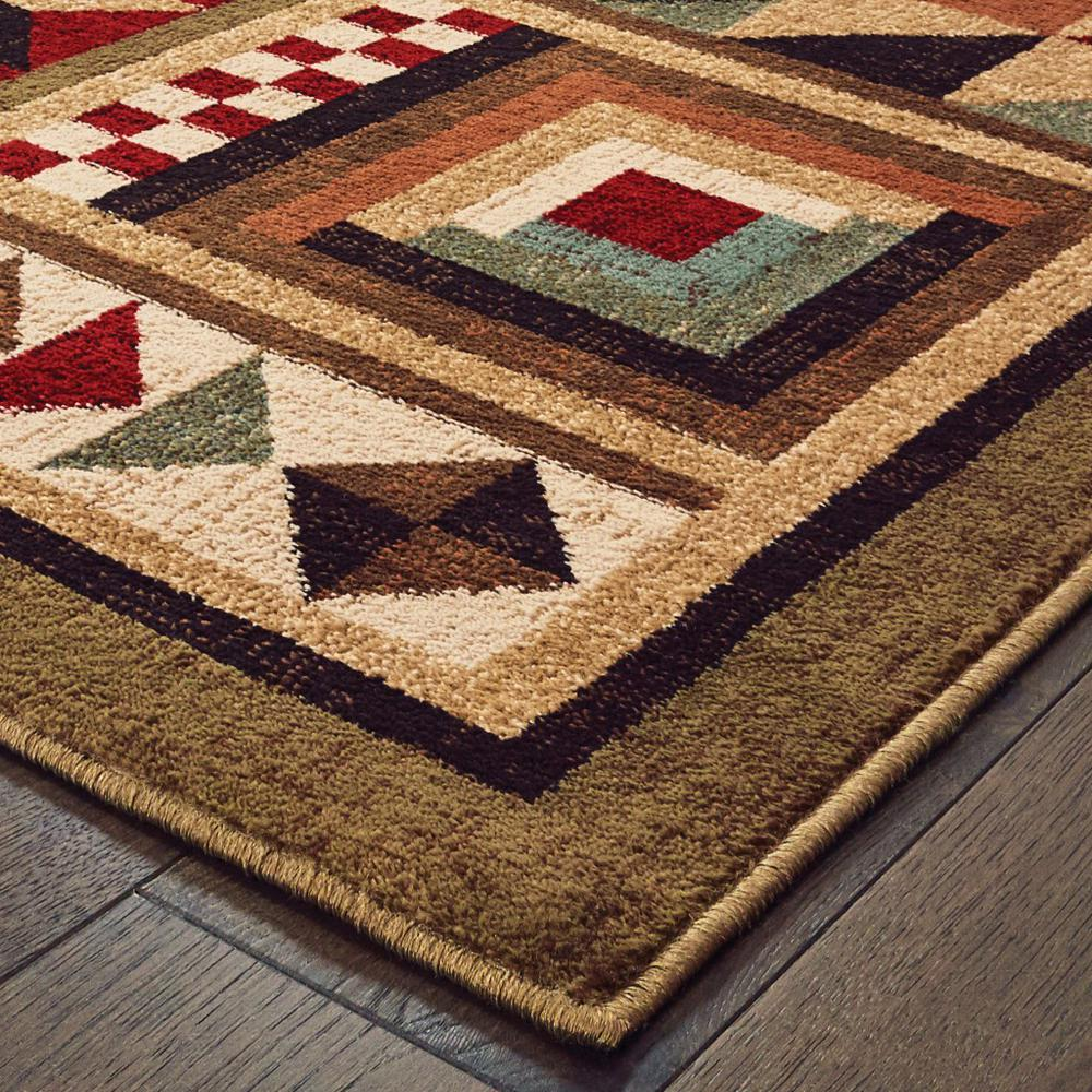 2'x3' Brown and Red Ikat Patchwork Scatter Rug - 388942. Picture 2