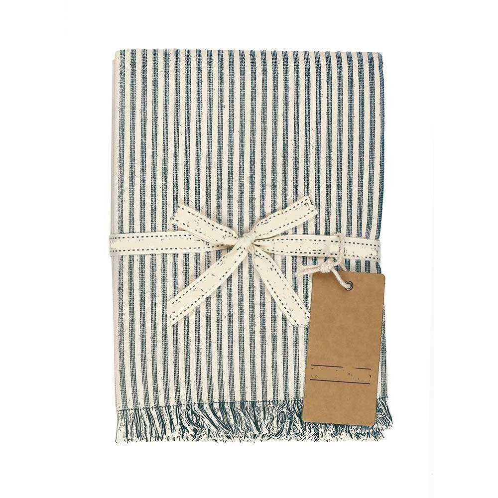 Set of EightDull  Green Striped Placemats - 388991. Picture 2