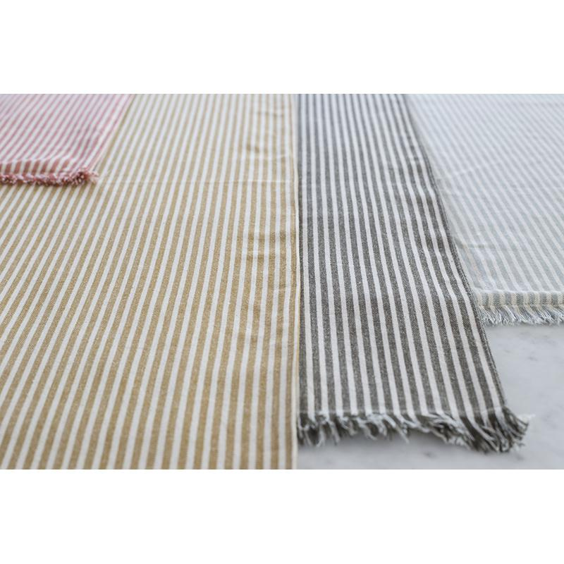 Set of EightDull  Green Striped Placemats - 388991. Picture 3