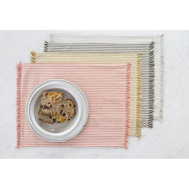 Set of EightDull  Green Striped Placemats - 388991. Picture 4