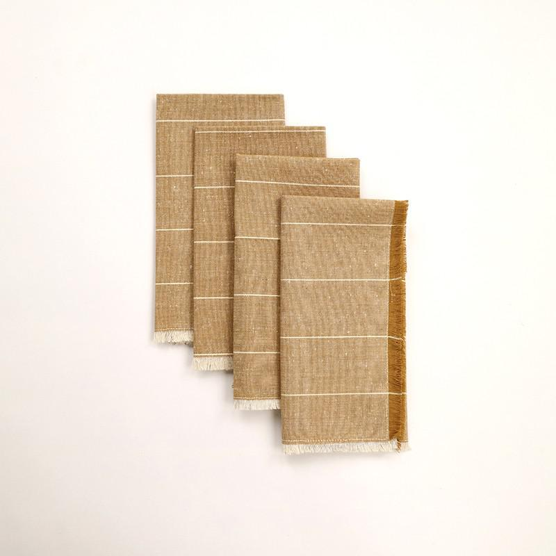 Set of Eight Wide Striped Pale Yellow Napkins - 388999. Picture 1