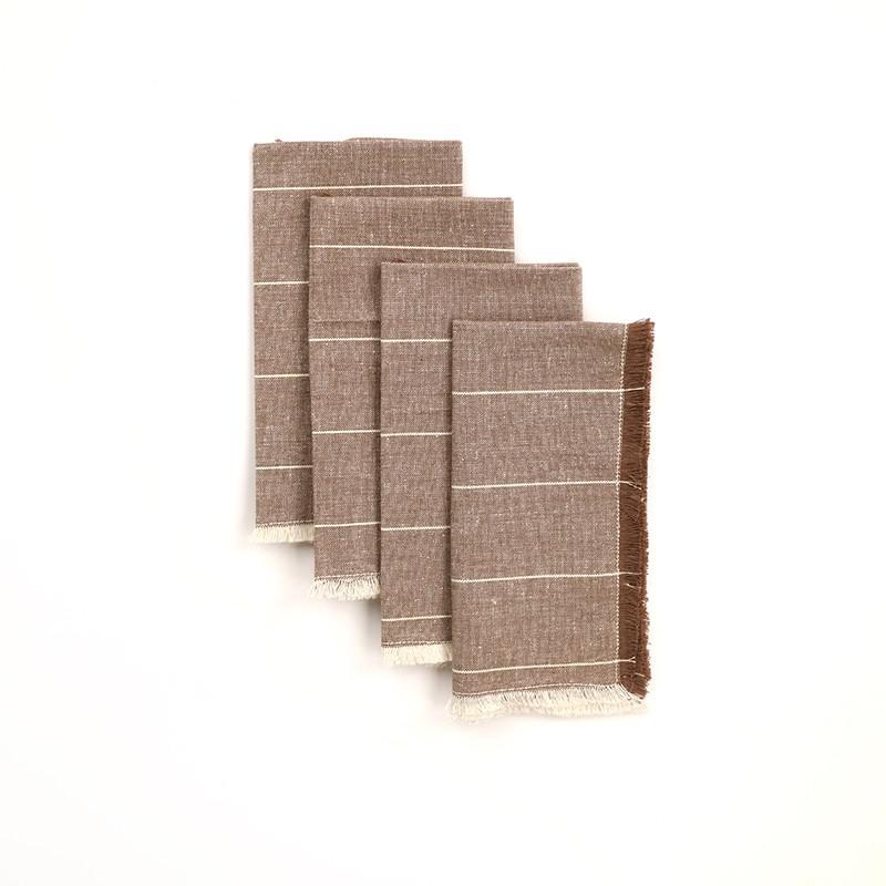 Set of Eight Wide Striped Gray Napkins - 389000. Picture 1