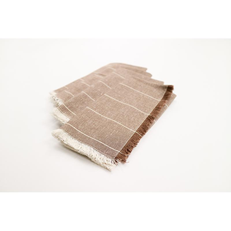 Set of Eight Wide Striped Gray Napkins - 389000. Picture 2