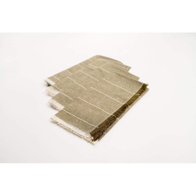 Set of Eight Dark Green Striped Napkins - 389019. Picture 2