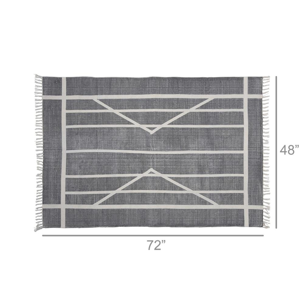 4' x 6' Gray and Cream Geometric Area Rug - 389087. Picture 2
