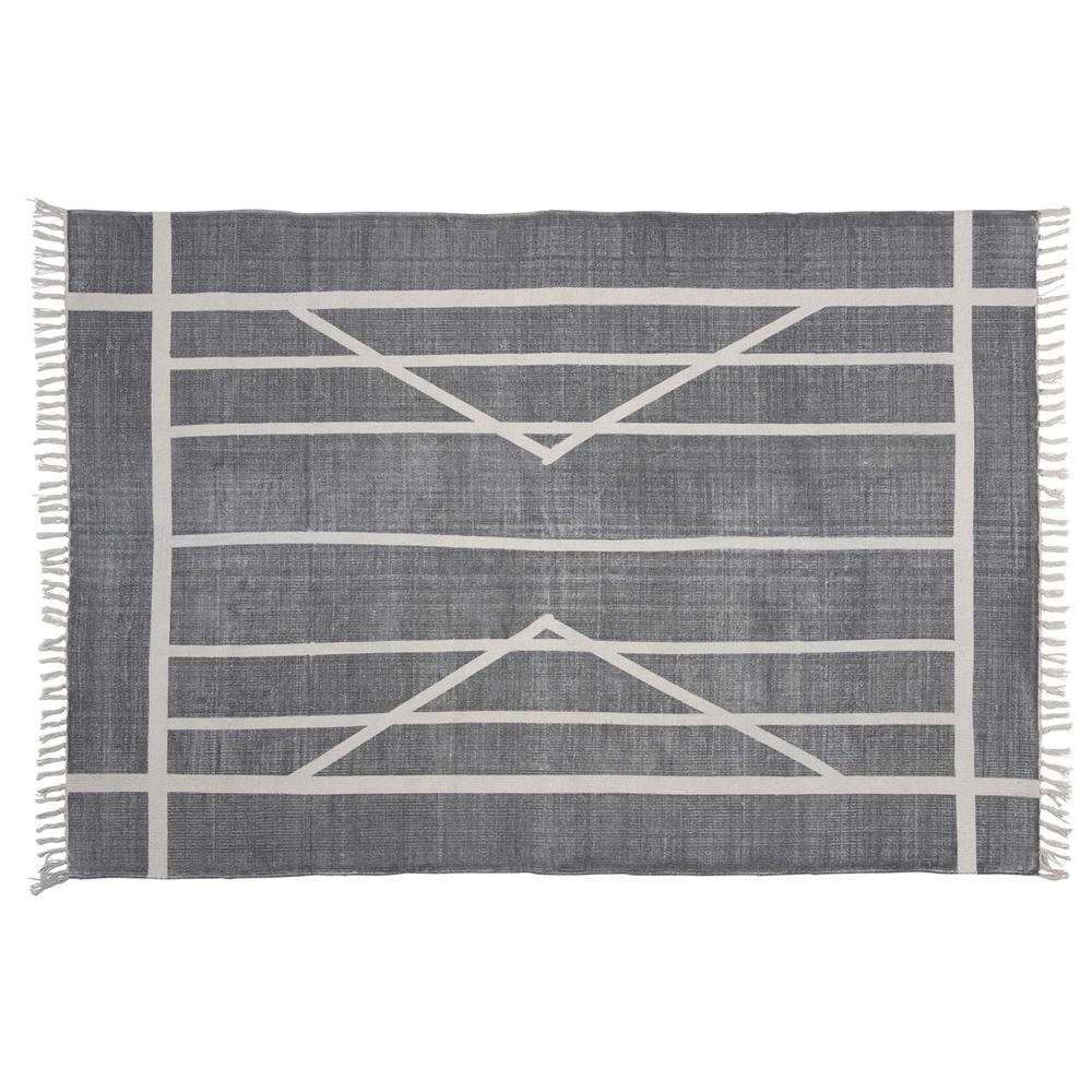 4' x 6' Gray and Cream Geometric Area Rug - 389087. Picture 4