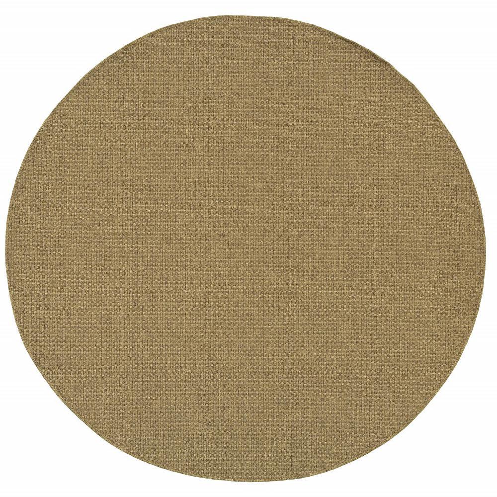 8' Round Solid Tan Indoor Outdoor Area Rug - 389471. Picture 1